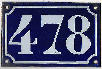 Old blue French house number 478 door gate plate plaque enamel metal sign c1900