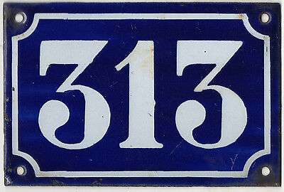 Old blue French house number 313 door gate plate plaque enamel metal sign c1900