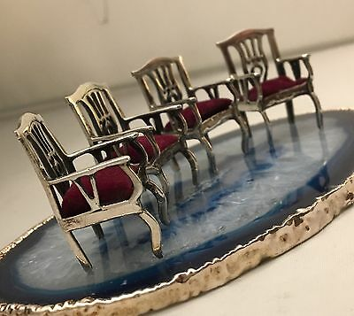STUNNING Lot/Set of 4 Sterling Silver .925 Miniature Red Velvet Armchairs -L322