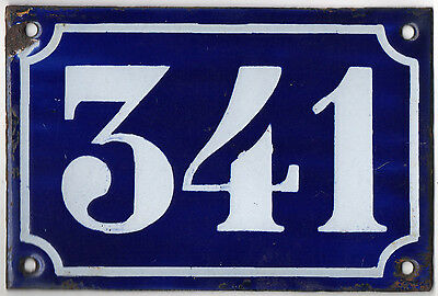 Old blue French house number 341 door gate plate plaque enamel metal sign c1900