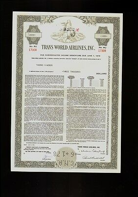 TWA TRANS WORLD AIRLINES INC dd  1961 USD 5,000.00 old bond certificate