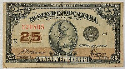 1923 CANADA 25 Cents Note 11c Fine-VF