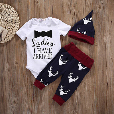 3PCS Set Newborn Baby Girls Boys Tops Romper +Long Pants Hat Outfits Clothes