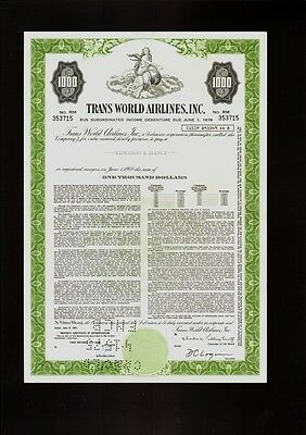 TWA TRANS WORLD AIRLINES INC dd  1961 USD 1,000.00 old bond certificate