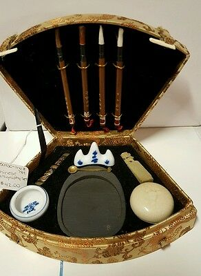 Calligraphy Set Asian Chinese BRUSHES STONE STAMP CHOP CERAMIC BRUSH REST