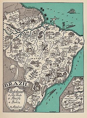 Charming BRAZIL Pictorial Map South America Fun and Funky 40s Picture Map 3156
