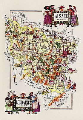 Vintage FRANCE Map ALSACE LORRAINE Pictorial Map Of France Print Fra 3157
