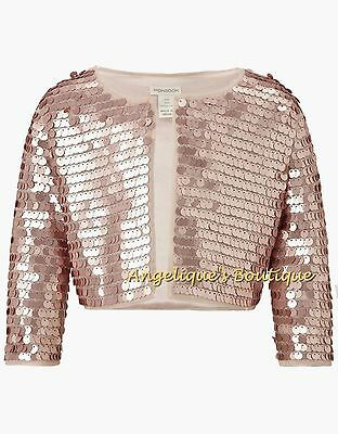 Monsoon Girls Rose Gold All-Over Sequin Bolero Style Party Jacket Age 3-13 New