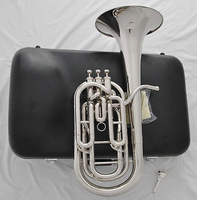Professional silver nickel Bb Baritone 3th Piston horn with case mouthpiece
