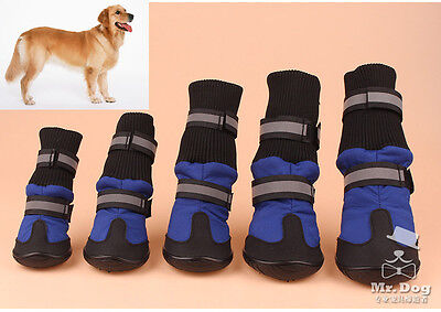 4Pcs Waterproof Pet Dog Shoes Anti-Slip Protective Boots Labrador Husky Protect