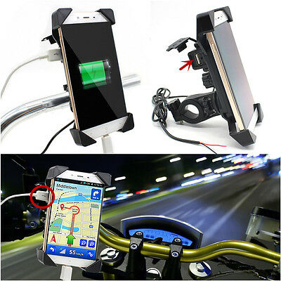 """Motorcycle Universal Cellphone Mount Holder With USB Charger For 3.5-7""""Phone GPS"""