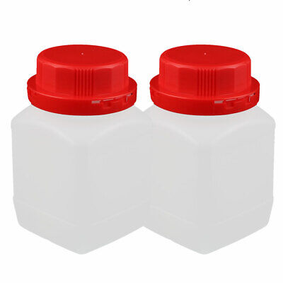 2PCS 450ml Plastic Red Cap Square Wide Mouth Chemical Sample Reagent Bottle