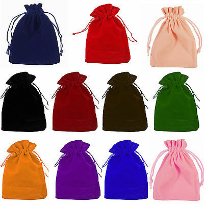10/100pcs VELVET Jewellery Drawstring Gift Bag Favour Xmas POUCHES 7x9cm