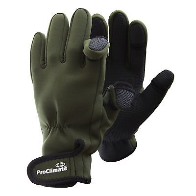 Pro Climate Green Fishing Hunting Shooting Gloves Fold Back Fingers Sizes M L Xl