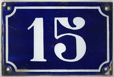 Old blue French house number 15 door gate plate plaque enamel metal sign c1900