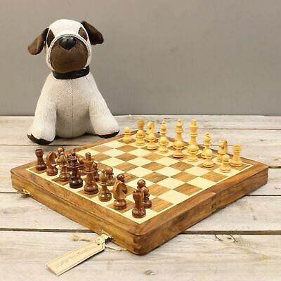 Arkavati Wooden Chess Set Magnetic Board Hand Made Carved Pieces Folding Storage