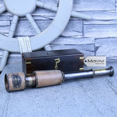 Antique Telescope with Wooden Box Leather Covering Ottway Reproduction Spyglass
