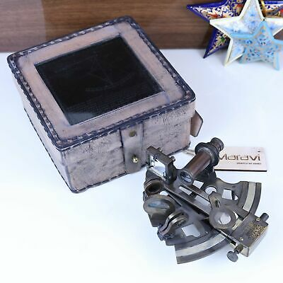 Kelvin & Hughes Antique Sextant London Marine Arts Leather Case Nautical Brass