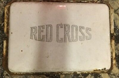 "14"" X 9"" X .5"" Antique Red Cross Painted Sign Cover Plaque White Curved Metal"