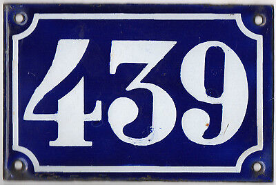 Old blue French house number 439 door gate plate plaque enamel metal sign c1900