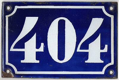 Old blue French house number 404 door gate plate plaque enamel metal sign c1900