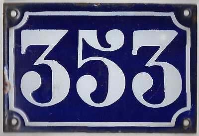 Old blue French house number 353 door gate plate plaque enamel metal sign c1900