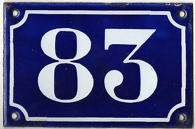 Old blue French house number 83 door gate plate plaque enamel metal sign c1900