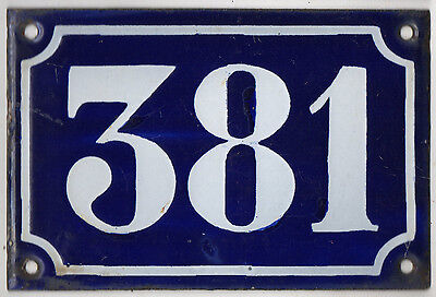 Old blue French house number 381 door gate plate plaque enamel metal sign c1900