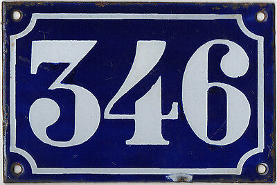 Old blue French house number 346 door gate plate plaque enamel metal sign c1900