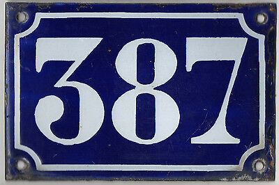 Old blue French house number 387 door gate plate plaque enamel metal sign c1900