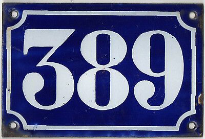 Old blue French house number 389 door gate plate plaque enamel metal sign c1900