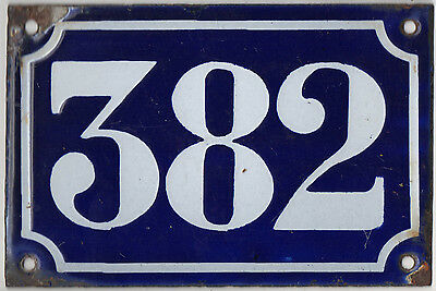 Old blue French house number 382 door gate plate plaque enamel metal sign c1900