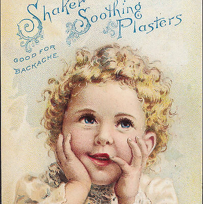Shaker Soothing Plasters Backache Cure A.J. White New York 1891 Advertising Card