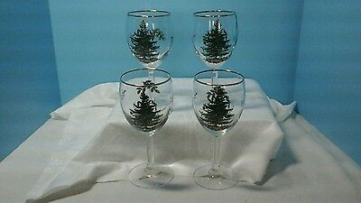 "Set Of 4 Spode Stemmed Clear Glass Wine Glass 7-1/4"" Tall Gold Trim"