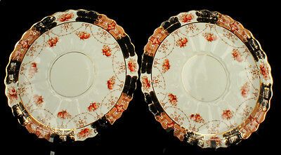 Antique Pair Rare Royal Albert Crown China Dinner Plates Unusual Pattern