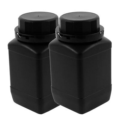 2Pcs 500ml Plastic Round Wide Mouth Chemical Sample Sealed Reagent Bottle Black