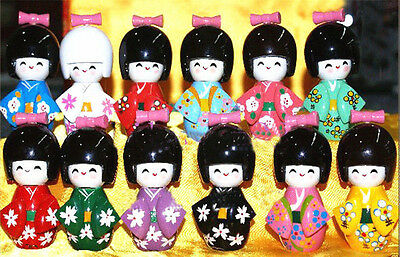 10PCS  Japanese Wooden Kokeshi Dolls Girl Wood Doll Gift
