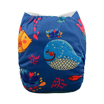1 Baby Cloth Diaper Nappy Reusable Washable Pocket Microfleece Whale Sea Fish