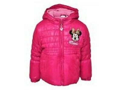 bnwt minnie mouse fleece lined padded winter pink coat 2,4,6,8 yrs
