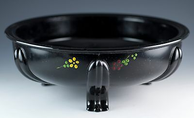 Vintage LE Smith Black Glass Three Toed 9 Inch Console Bowl With Flowers 1930's