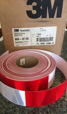 3M Scotchlite Diamond Conspicuity Reflective Tape 980-32 Red/White 2in x 1Yd DOT