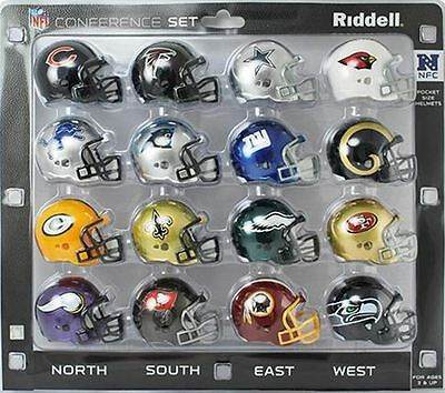 NFL American Football Riddell Pocket Pro Revolution NFC Helmet Set Of 16