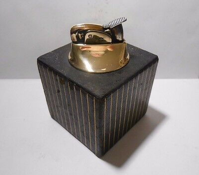 "Vintage Evans Lll Eaton Cubed & Gold Art Deco 3"" Table Lighter - Working"