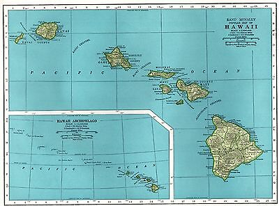 1949 Antique HAWAII Map Vintage 1940's  Map of Hawaii Hawaiian Islands Map 3172