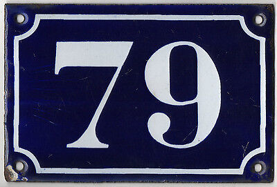 Old blue French house number 79 door gate plate plaque enamel metal sign c1900