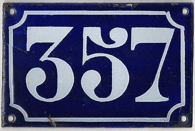 Old blue French house number 357 door gate plate plaque enamel metal sign c1900