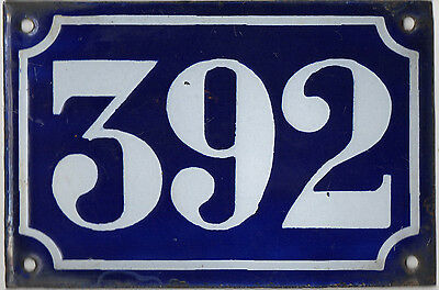 Old blue French house number 392 door gate plate plaque enamel metal sign c1900 • CAD $68.98