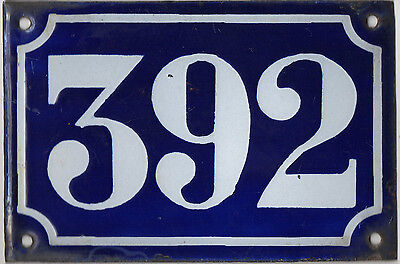 Old blue French house number 392 door gate plate plaque enamel metal sign c1900
