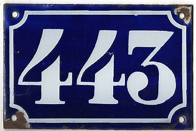 Old blue French house number 443 door gate plate plaque enamel metal sign c1900