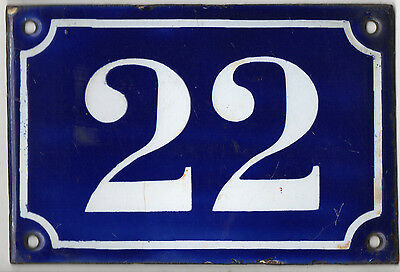 Old blue French house number 22 door gate plate plaque enamel metal sign c1900